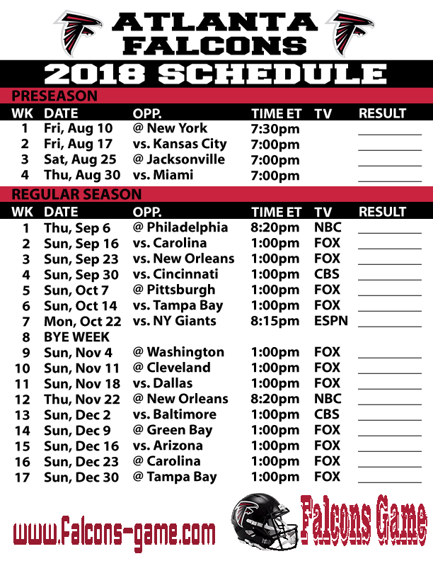 Falcons Game schedule
